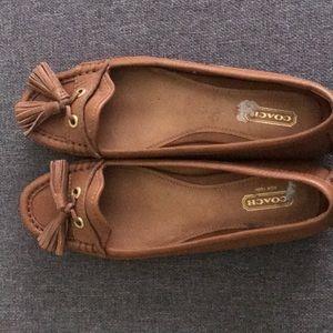 Coach women's leather tassel loafers in cognac
